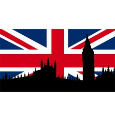British design with big ben flag vector