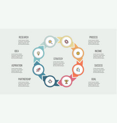 business infographics circle with 8 parts vector image