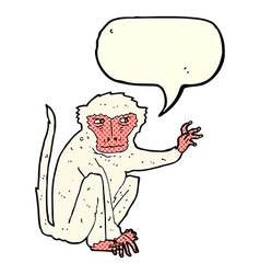 cartoon evil monkey with speech bubble vector image