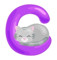 Cat letter with animal for kids abc education vector