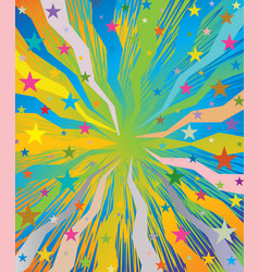 Celebratory burst background with stars vector