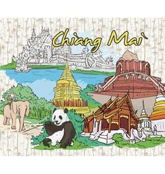 Chiang mai doodles vector