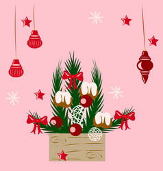 Christmas composition in the box vector
