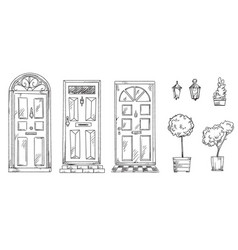 Collection british traditional doors with vector