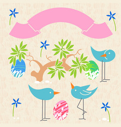 Cute birds baby shower invitation card design vector