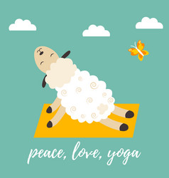 Cute cartoon sheep doing some yoga exercises vector