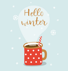 cute greeting card with hot cacao mug and vector image