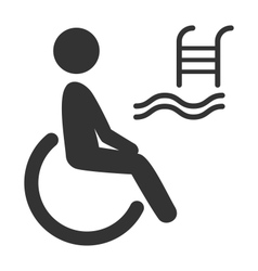 Disability man pictograph flat icon pool isolated vector