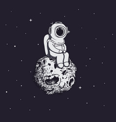 diver like a astronaut sits on asteroid vector image