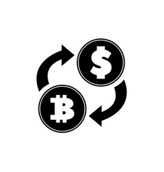dollar currency exchange bitcoin flat icon vector image