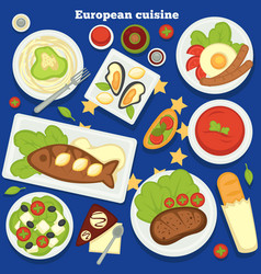 european cuisine dishes and meals desserts food of vector image