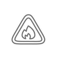 flammable sign firefighting no fire line icon vector image
