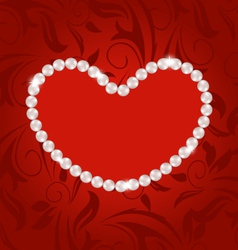 Floral postcard with heart made in pearls for vector image