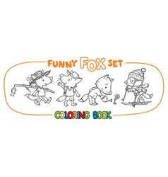 funny fox coloring book set vector image