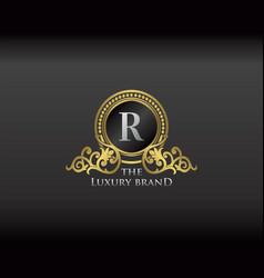 Gold luxury brand letter r elegant logo badge vector