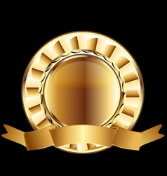 Gold seal ribbon emblem element vector