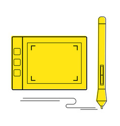 Graphic tablet and and stylus icon graphic vector