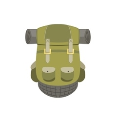 Green Hiking Backpack With Rolled Matrass vector image