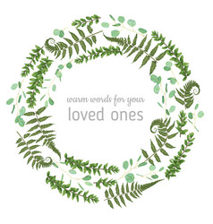 Green wreath frame made from twigs and leaves of vector