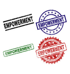 Grunge textured empowerment seal stamps vector