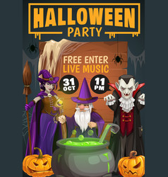 Halloween pumpkins witch dracula and wizard vector
