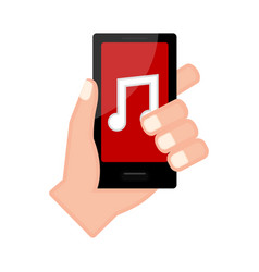 Hand holding a smartphone with a music player app vector