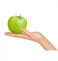 Hand with apple vector