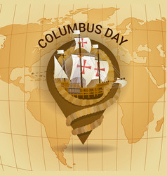 Happy columbus day america discover holiday poster vector