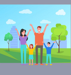 happy family spend time together mother father vector image