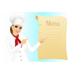 Happy female chef pointing at menu vector