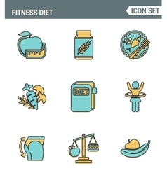 Icons line set premium quality of fitness diet vector image