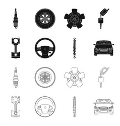 isolated object of auto and part sign collection vector image