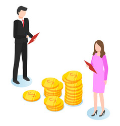 isometric image business partners and big vector image