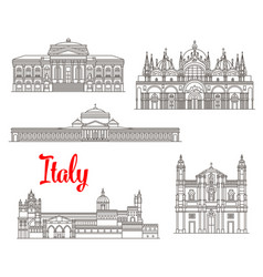 Italy architecture buildings icons vector