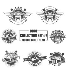 logo collection set with motorbike theme vector image