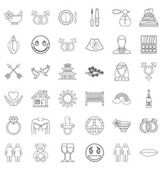 Love affair icons set outline style vector