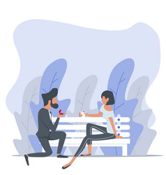 man proposing to a woman sitting bench nature vector image