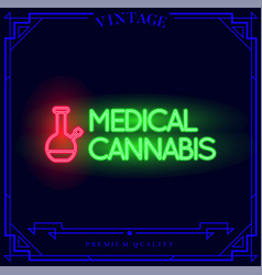 Medical cannabis bong neon light sign vector