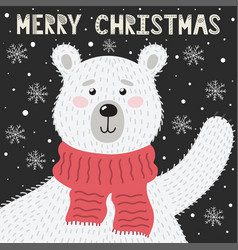 merry christmas greeting card with a cute bear vector image