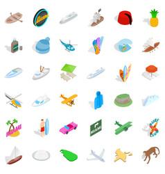 Miami beach icons set isometric style vector
