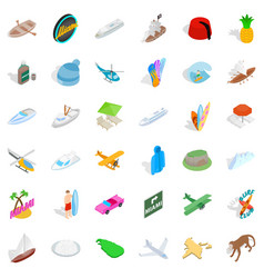 miami beach icons set isometric style vector image