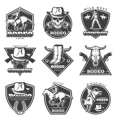 monochrome rodeo labels set vector image