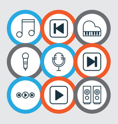 music icons set with music microphone fast vector image