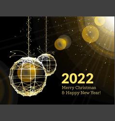 new years 2022 christmas balls on luminous vector image