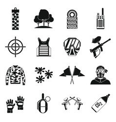 Paintball icons set simple style vector
