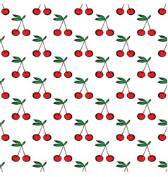 Pair of cherries seamless pattern on white vector