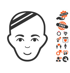 Patient head icon with love bonus vector