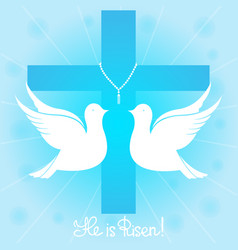 Pigeons soars in the sky he is risen vector