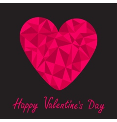 Pink heart Polygonal effect Happy Valentines Day vector image