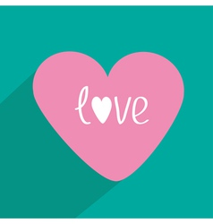 Pink heart with long shadow flat design icon vector